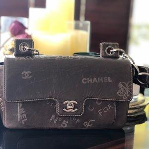 Chanel Brown Graffiti Etched Handbag